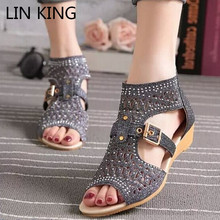 Купить с кэшбэком LIN KING Rome Women's Gladiator Sandals Vintage Zipper High Top Peep Toe Summer Single Shoes Buckle Pierced Ladies Wedge Sandals
