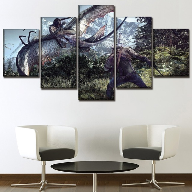 5 Panel Game The Witcher 3 Wild Hunt Duel Painting Modern Home Wall Decor Picture Canvas Art Print Poster For Modern Living Room 3