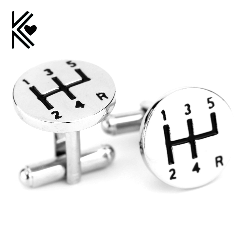 Top Grade Personality Manual Car Transmission Silver Plated Shirt Brand Cuff Buttons Gemelos High Quality Cufflinks For Mens