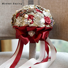 Dark Red Luxury Artificial Flowers Rosette Shiny Crystal Wedding Bouquets 2018 Pearls Bridesmaid Bouquets Wedding Accessories