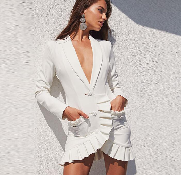 Runway Blazer Dress 2019 New Fashion Designer Jacket Women's Double Breasted Single Button Elegant Sexy Mini Party Dress Suit