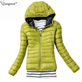 Tangnest ultraleve slim com capuz para baixo casacos de 2017 marca de moda doce cor mulher parka inverno plus size jaquetas acolchoadas wwm1544