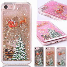 цена на Christmas tree Glitter Liquid Quicksand Phone Case For iPhone 6 6S 7 8 Plus Clear Transparent Cover For iPhone X XS 5 5S SE Case