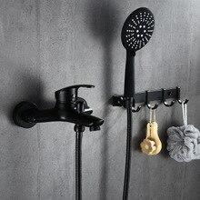 Black bathroom shower set bathtub faucets with ABS shower head and hanging hooks shower head kit set de bano grufos ducha