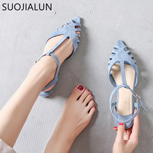 цены SUOJIALUN Women Flat Sandals Fashion Peep Toe Summer Shoes Woman Faux Suede Flat Sandals Plus Size 35-41 Woman Zapatos Mujer