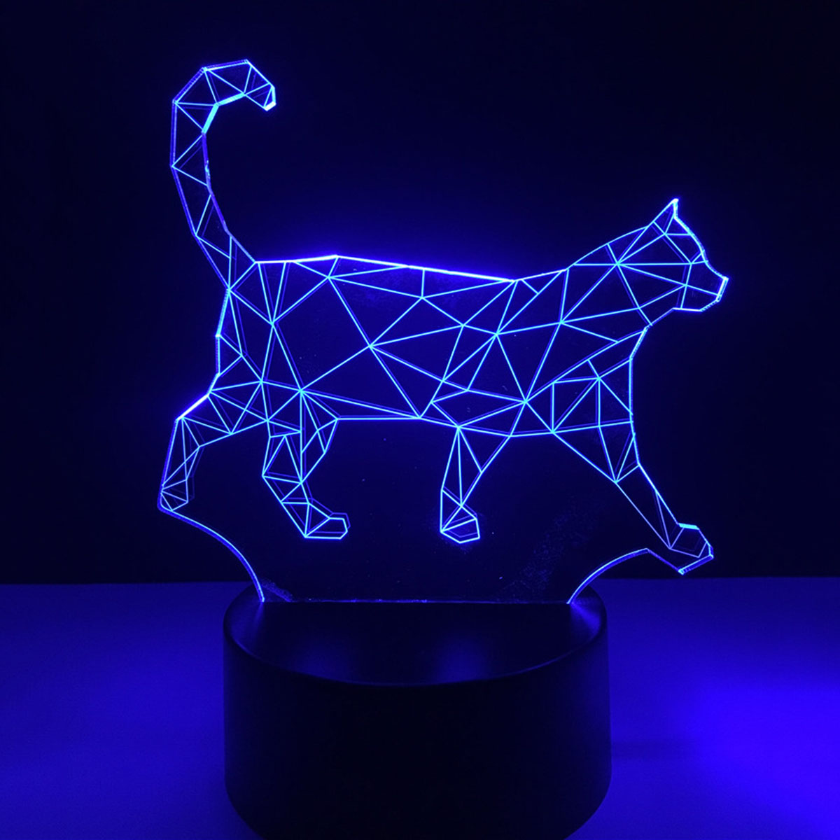 3D Lamp Lazy Walking Cat USB LED Acrylic Night Light Touch Switch Nightlight Colorful Creative Atmosphere Bedroom Desk Lamp ...