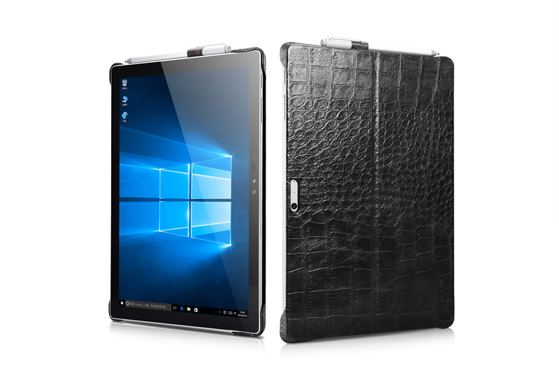 Crocodile Pattern Genuine Leather Case for Microsoft Surface Pro 4 Cover 12.3 Protective Shell for Surface Pro4 back cover protective creative mustache pattern back case for iphone 4 4s black white