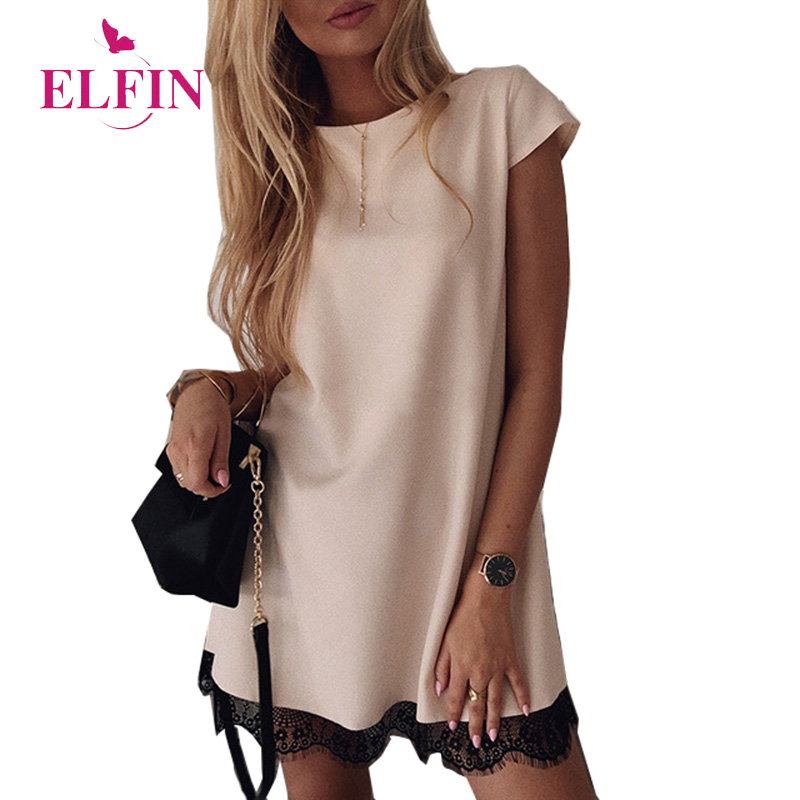 Women Dress Short Sleeve Straight Lace Mini Party Dresses Summer Elegant Robe Femme Womens Clothing 2019 SJ2978R