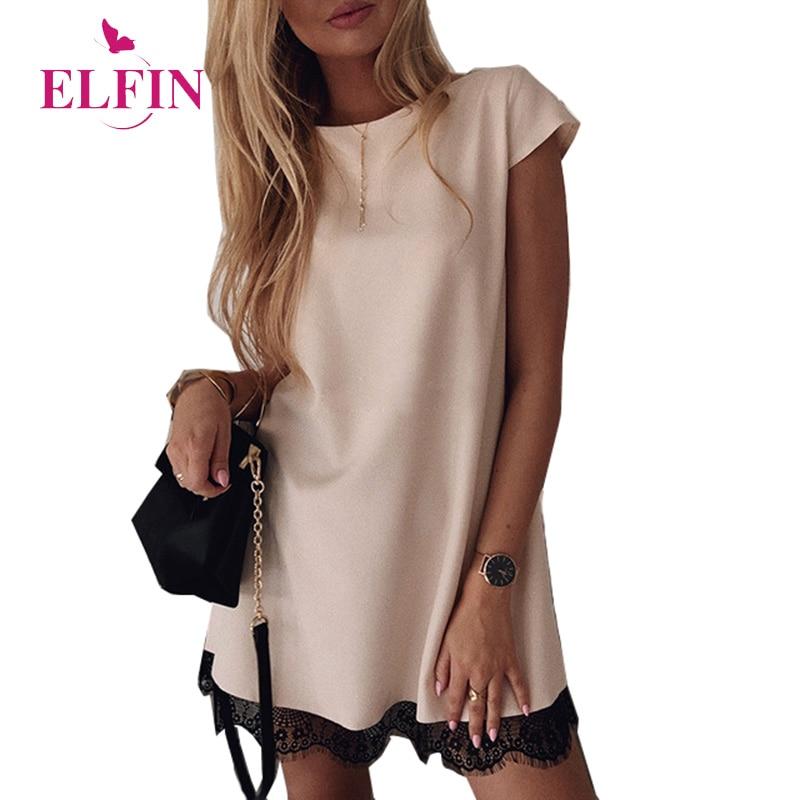 Women Dress Short Sleeve Straight Lace Mini Party Dresses Summer Elegant Robe Femme Womens Clothing 2019 SJ2978R