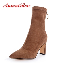 AnmaiRon Zapatos De Mujer  boots women  Pointed Toe  Basic  high heel boots  winter boots women Size 34-39 ZYL1360