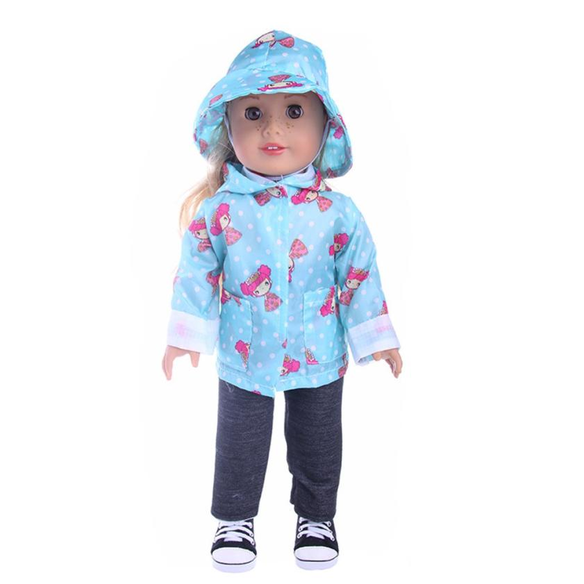 shaunyging # 4036 DIY Doll Raincoat 3-Piece Suit For 18 inch Doll Baby Kids Gifts Party  ...