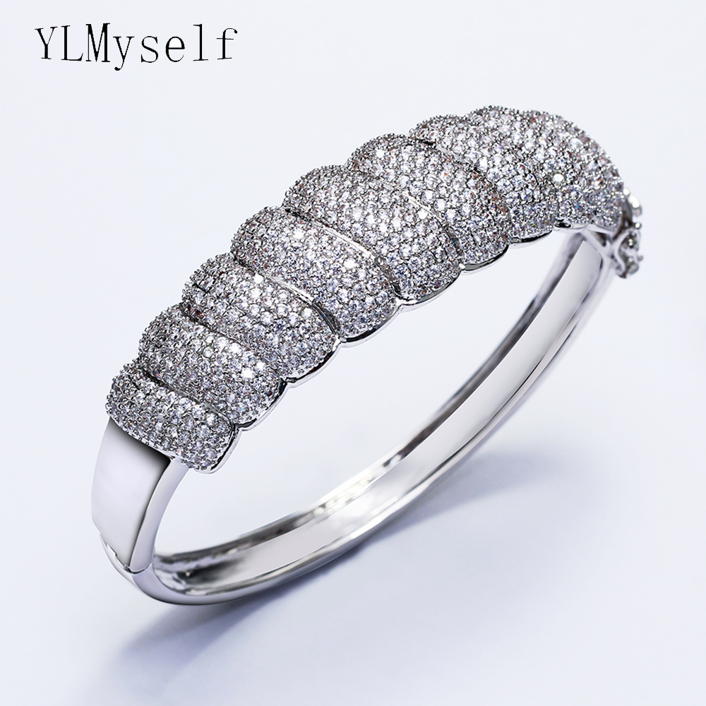 Luxury bangle white and gold color nice jewelry good quality bright crystal big Bracelet for wedding