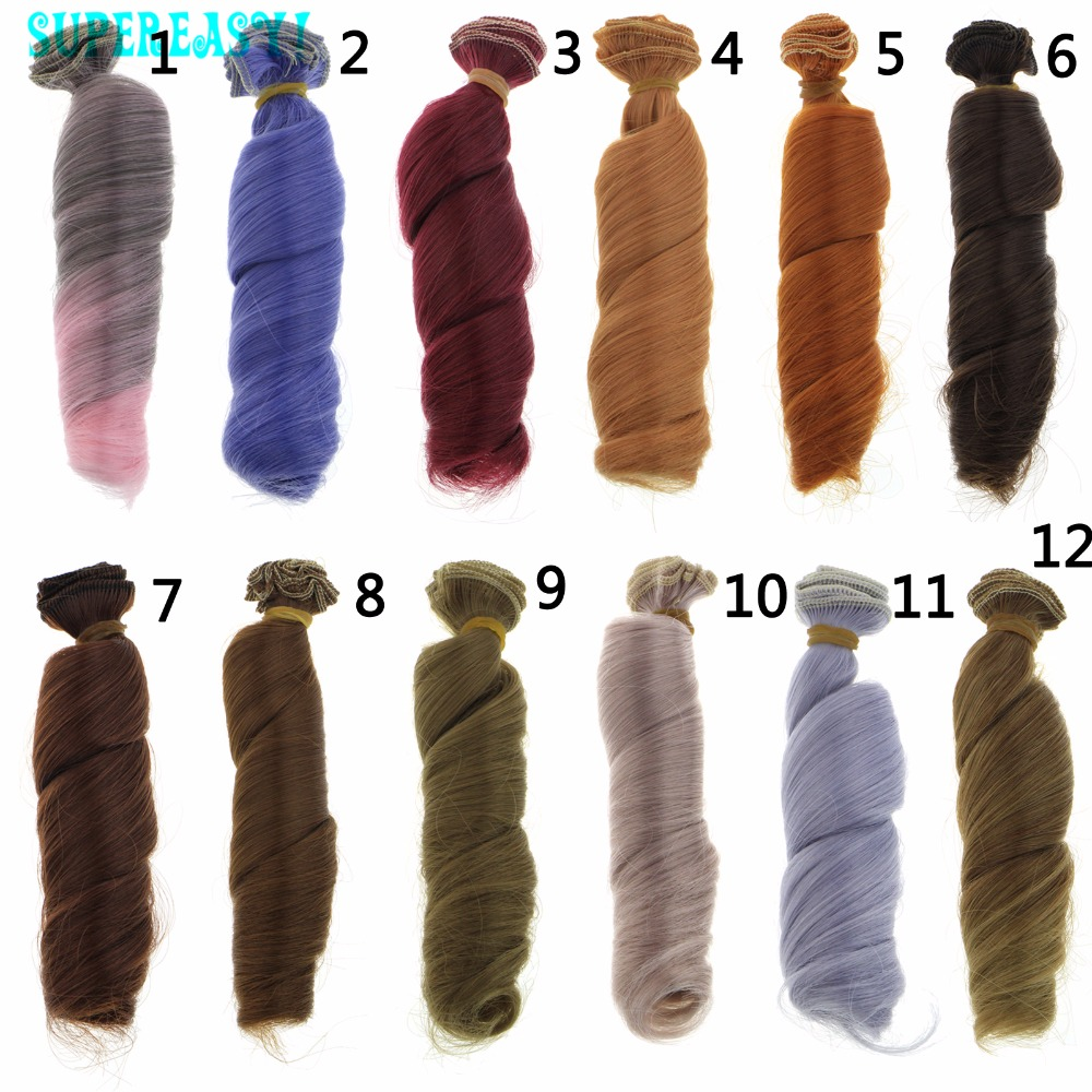 1 Pcs 15CM*100CM BJD Doll Hair Wavy Wigs Multicolor Light Gray Blue Handmake High Temperature Curly Wig 1/3 1/4 DIY For Barbie fashion black hair extension fur wig 1 3 1 4 1 6 bjd wigs long wig for diy dollfie