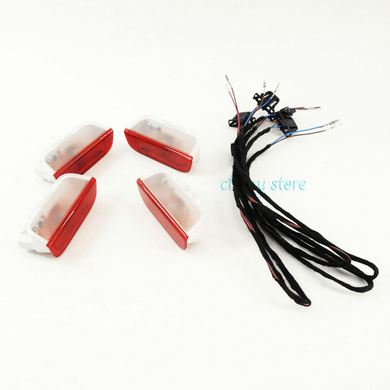 OEM Door Warning Light w/ Cable Set For VW Rabbit Jetta Golf GTI MK5 MK6 Passat B6 B7 CC Tiguan Touareg Superb 1K0947411A