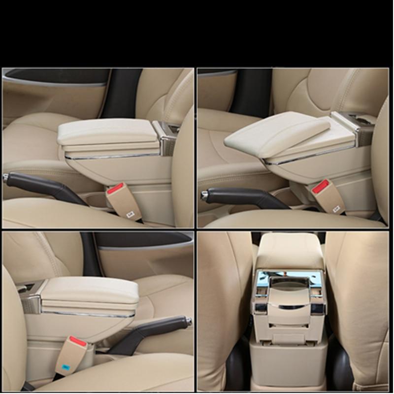 For V olkswagen Polo 9N 2002-2009 Luxury Car Armrest Center Console Accessories Arm Rest Built-in LED Light beige