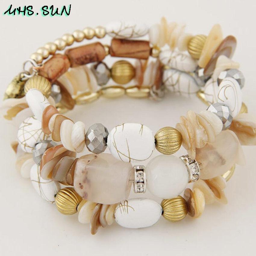 10-1 Bohemian Women Layered Bracelets Fashion National Stone Beaded Shell Bracelets Charm Ethnic Jewelry Female Party Gift