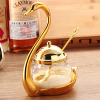Golden Swan Seasoning Pot Glass Caster Spices Sugar Pot Condiment Storage Box Lucency Seasoner Cans With Scoop Kitchen Tools 1pc