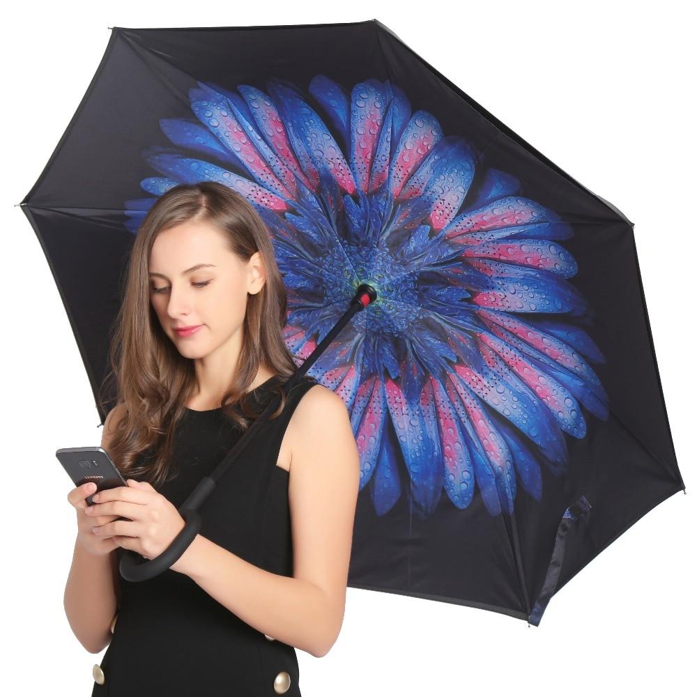 JESSEKAMM Drop Shipping a prueba de viento reverso plegable doble capa invertida paraguas Self Stand lluvia sol protección C-gancho para coche
