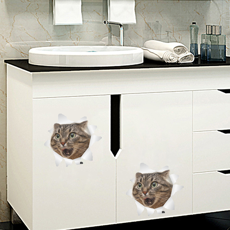 3D Hole View Vivid Cats Wall Stickers Bathroom Toilet Living Room Kitchen Decoration Animal PVC Mural Decals Art Sticker Poster in Wall Stickers from Home Garden