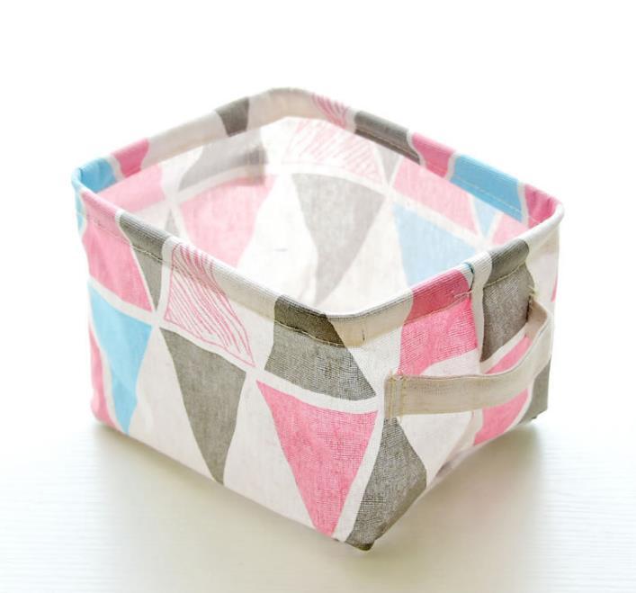 Складная корзина для хранения холщовая ткань водонепроницаемый органайзер для детской игрушки макияж настольная организация с ручкой 3 цвета - Цвет: B