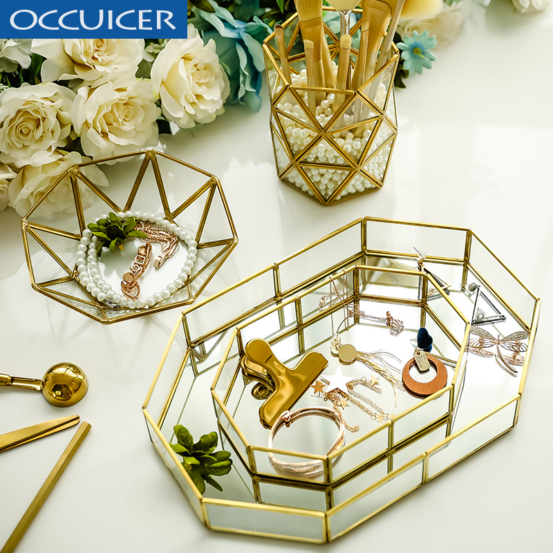 Charmant Gold Glass Storage Trays Nordic Makeup Organizer Cosmetics Sundries Dessert  Plate Metal Decorative Tray Bathroom Home Decor In Makeup Organizers From  Home ...
