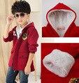 New 2016 Autumn Winter Kid's Fashion Casual Thick Jackets Boy's Fleece Wool Long Sleeve Hooded Coats Kids Warm Clothing KC-1702