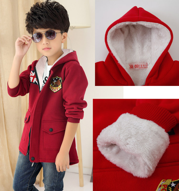 New 2016 Autumn Winter Kid's Fashion Casual Thick Jackets Boy's Fleece Wool Long Sleeve Hooded Coats Kids Warm Clothing KC-1702