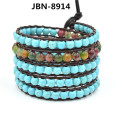 Top Quality 6mm natural turquoise agate beads jewelry Leather 5 Wrap Bracelet Weaving charms Bracelets For Women 2015 JBN-8914