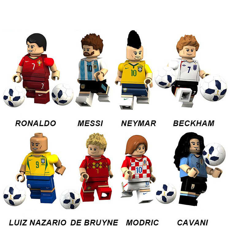 2018 Bricks Football Figures Team Pogba Ronaldo Messi Ibrahimovic Beckham Neymar JR Ozil Models Building Blocks Toys boy