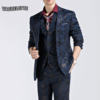 (Giacca + Pantaloni + Maglia) Vestito degli uomini di modo Lustro Modello Uomini Di Lusso Usura Della Fase Per Il Cantante Slim Fit Abiti da Uomo di Nozze Vestiti M-3XL