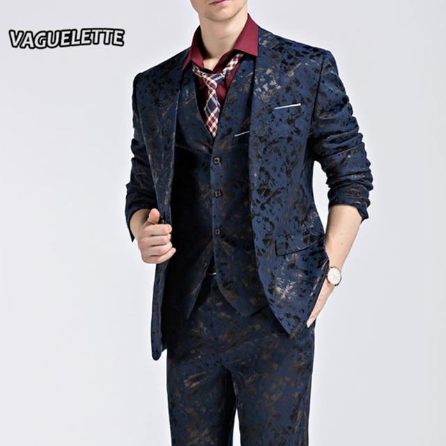 Blazer+Pants+Vest) Fashion Men\'s Suit Shine Pattern Luxury Men ...