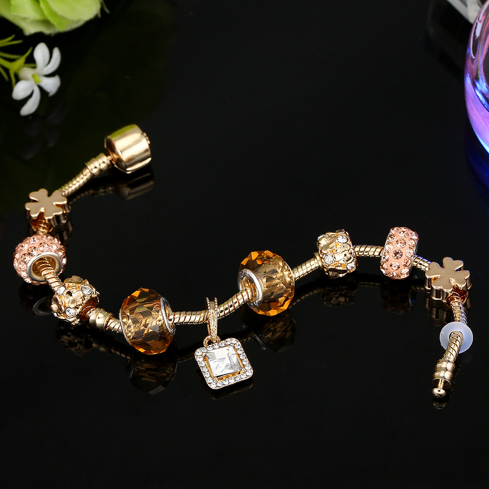 CUTEECO Crystal Lucky Charm Bracelets Bangles High Quality Gold Beads Brand Bracelets for Women Jewelry Pulseira Feminina in Charm Bracelets from Jewelry Accessories