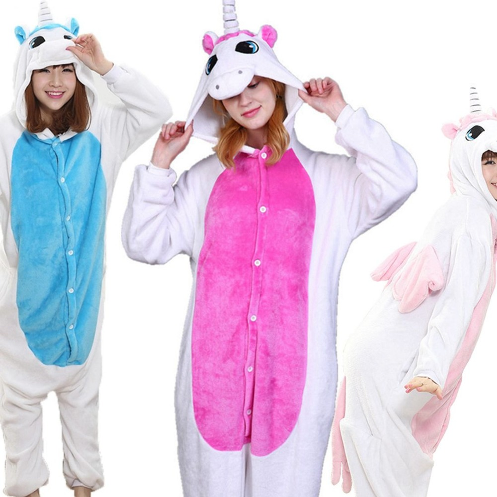 3 Color Unicorn Pajama Set Women Men Unisex Animal Pijama Flannel Onesie unicornio Sleepwear Hoodie Halloween Cosplay Costume