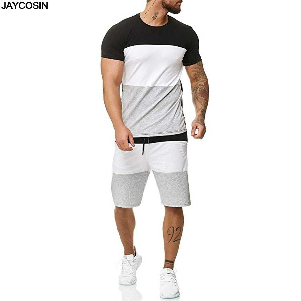 KLV Men's Sets Mens 2 Piece Outfit Sport Set Short Sleeve Summer Leisure Casual Short Thin Sets Suit CLOTH High Quality hot 9516