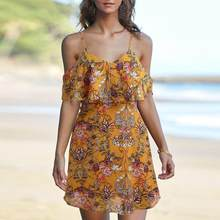 feitong Fashion Women Dress oodji Ladies Off Shoulder Printed Knee Length  Dress Loose Party Dress  EW 357feaa644e5