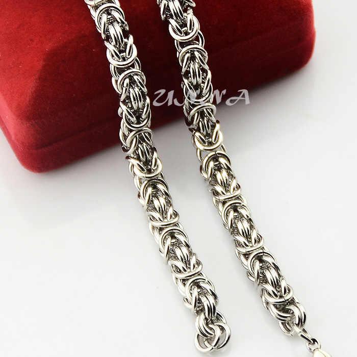 Mężczyzna łańcuch chłopcy kobiet 7 MM Hip Hop fajne bizantyjski Link srebrny Tone ze stali nierdzewnej naszyjnik Link łańcuchy 18 cal -36 cal