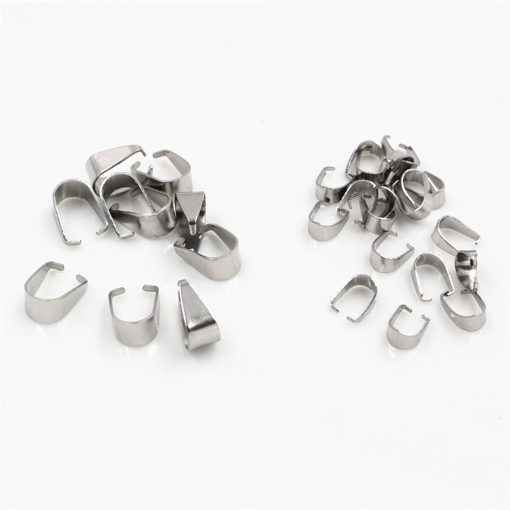 100pcs Stainless Steel Pendant Pinch Bail Clasps Necklace Hooks Clips Connector For Jewelry Making Findings Accessories DIY
