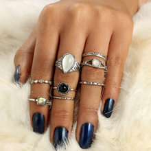 Vintage Cactus Elephant Fox Ring Set Bohemia Symbol Bird Lion Feather Arrow Crown Midi Finger Rings For Women(China)