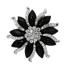 Черные и фиолетовые овальные камни из смолы и стразы из кристаллов, брошь в виде цветка, булавки с серебряным покрытием