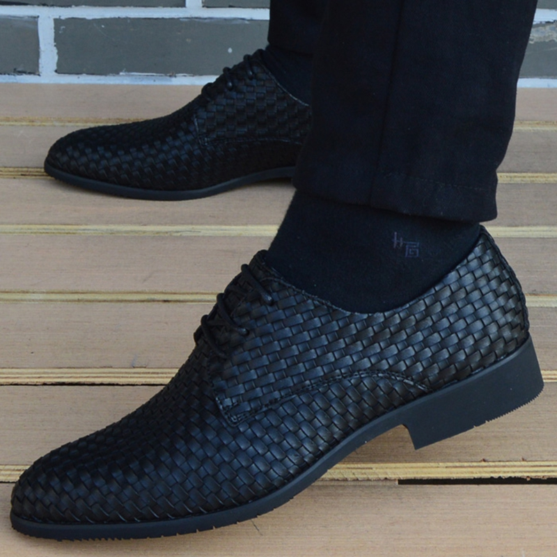leather woven shoes oxford shoes for mens pointed toe dress shoes men loafers italian formal wedding shoes zapatos hombre casual