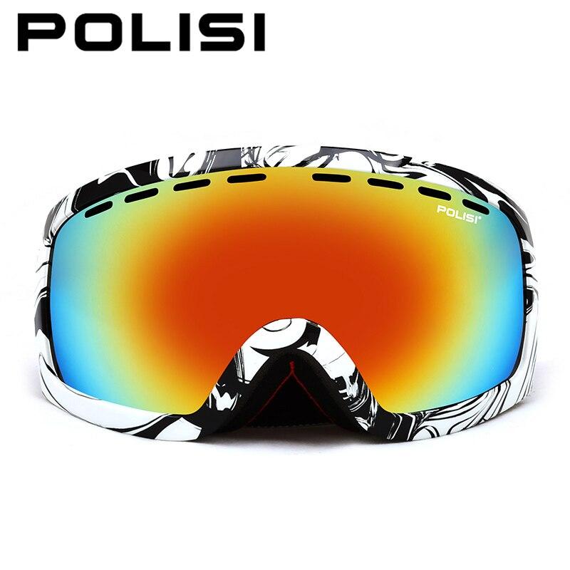 POLISI Double Layer Large Spheral Lens Ski Goggles Polarized Anti-Fog Skiing Eyewear Outdoor Anti-Fog Snowboard Snow Glasses topeak outdoor sports cycling photochromic sun glasses bicycle sunglasses mtb nxt lenses glasses eyewear goggles 3 colors
