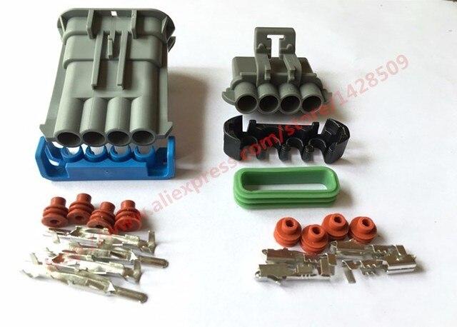 20 Set Delphi Auto 4 Pin Waterproof Wiring Harness Connector Speaker