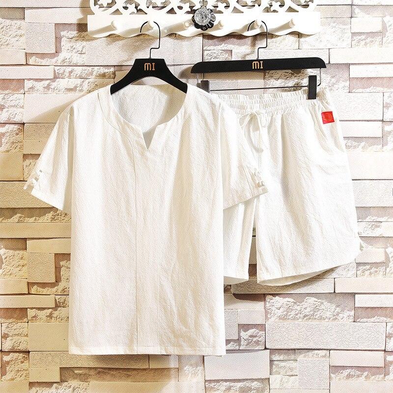 #3423 sommer Zwei Stück Set Top Und Hosen Baumwolle Leinen Casual Lose T Shirt Und Shorts Mann Kleidung Set - 5