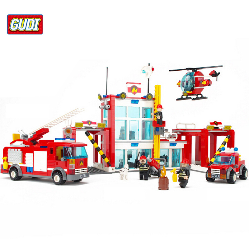 GUDI Fire Fire Administration Building Blocks Compatible with Chima Fire Truck Station BlocksToys for Children Boy Toy 9217