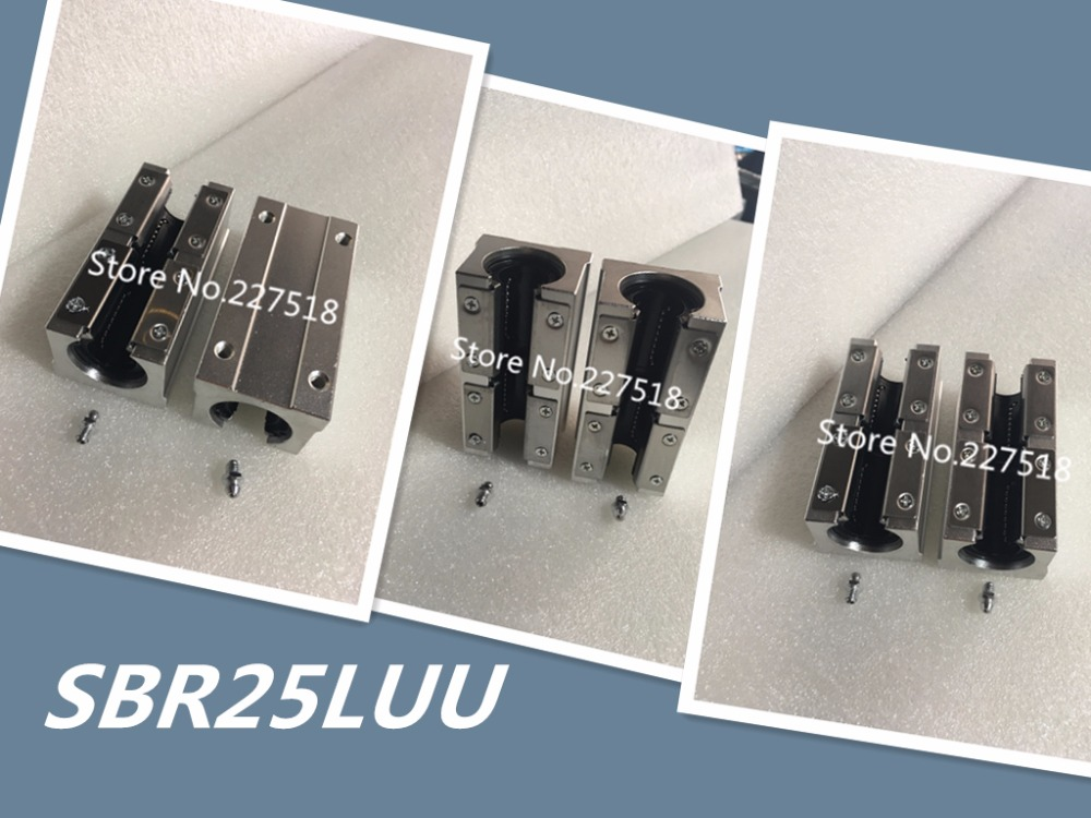 1pcs SBR25LUU 25mm aluminum block 25mm Linear motion ball bearing slide block match use SBR25 25mm linear guide rail штанга 25mm