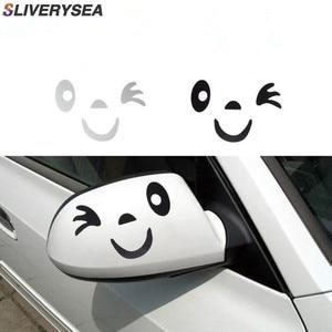 Image 4 - Sliverysea 2 쌍 반사 귀여운 만화 미소 자동차 스티커 백미러 눈 얼굴 스티커 자동차 스타일링 데칼