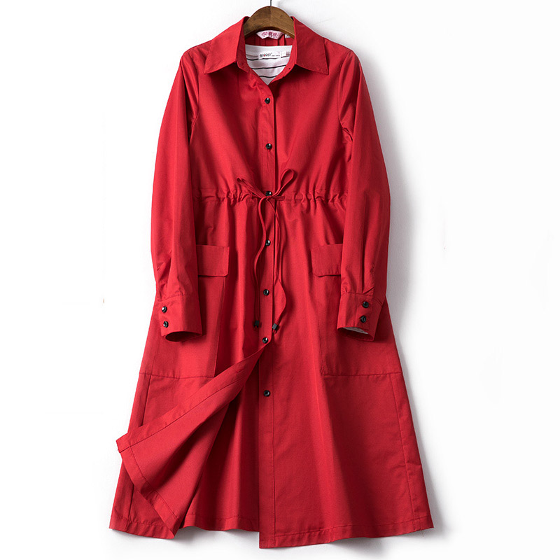 Red trench coat women adjustable waist sashes turn down collar single breasted thin outerwear 2019 autumn winter