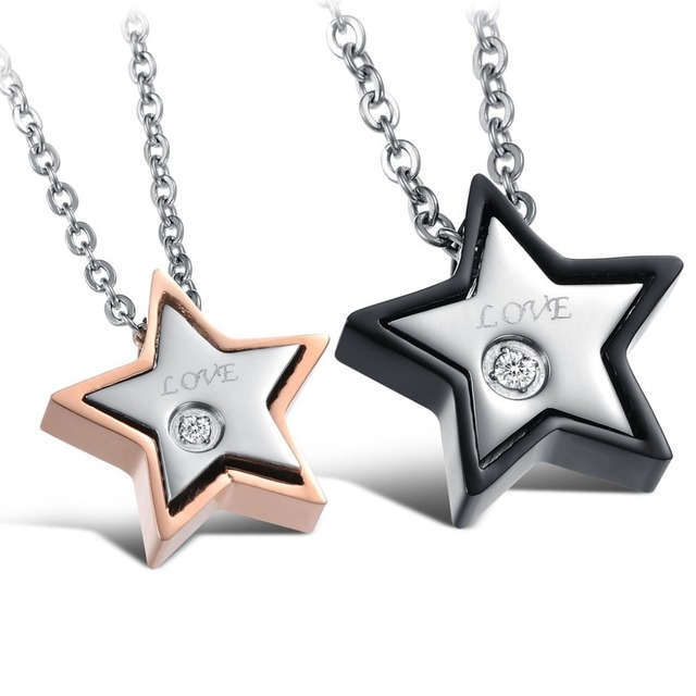 His and Hers Matching Necklace Set Anniversary Gift Rose Gold Color