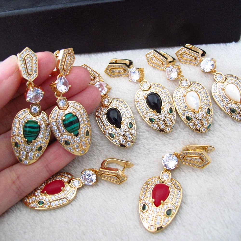 New vintage gold color Party jewelry cubic Zirconia earrings for women