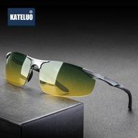 KATELUO Day Night Vision Dual Use Mens Aluminum Sunglasses HD Polarized UV400 Male Sun Glasses For Men Eyewear Accessories 8179